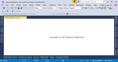 Out-of-proc Visual Studio connection lost